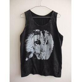 Barn Owl Bird Animal Stone Wash Vest Tank Top M