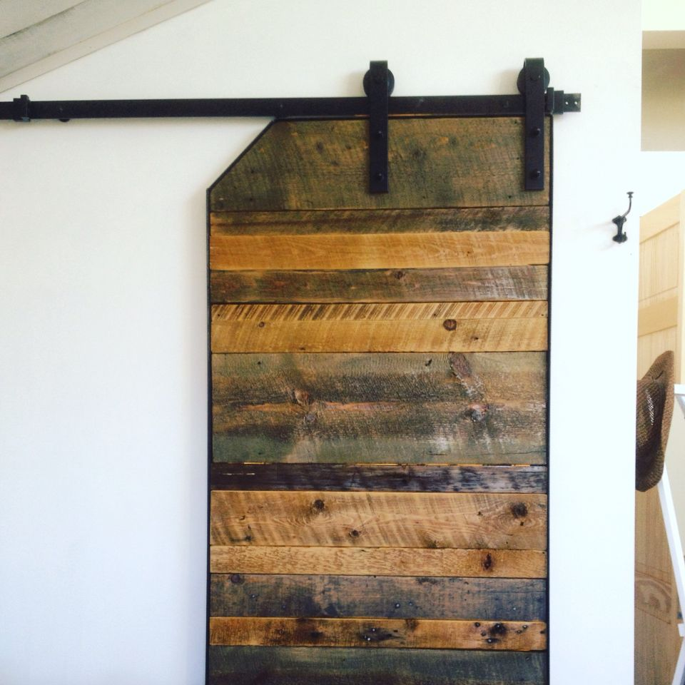 Barn Door Made From Reclaimed Wood From An Old House In Town Used Gray And Brown Stains And Left Some Wood Natural Ma Barn Door Old Barn Doors Wood Barn Door
