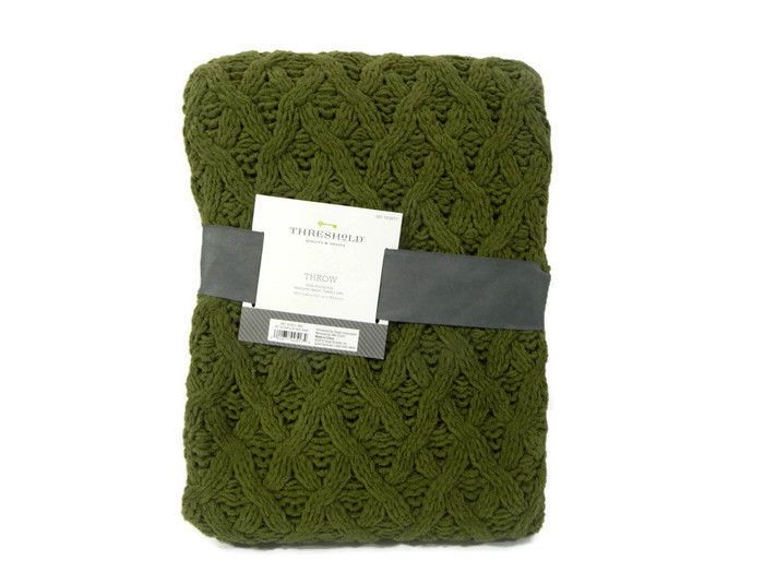 Threshold Throw Blanket Forest Green Chunky Chenille Cable Knit 40 X Best Forest Green Throw Blanket