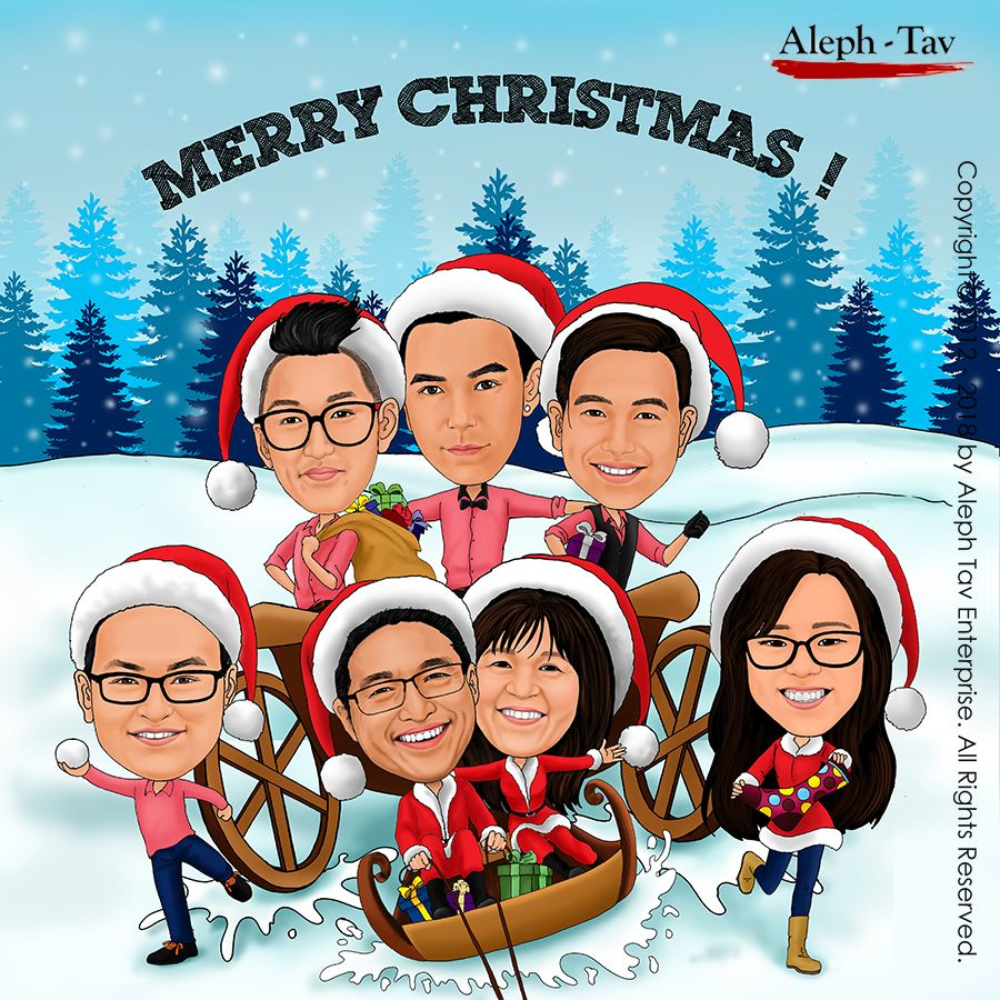 Customized caricature Christmas card, holiday season greeting gifts ...