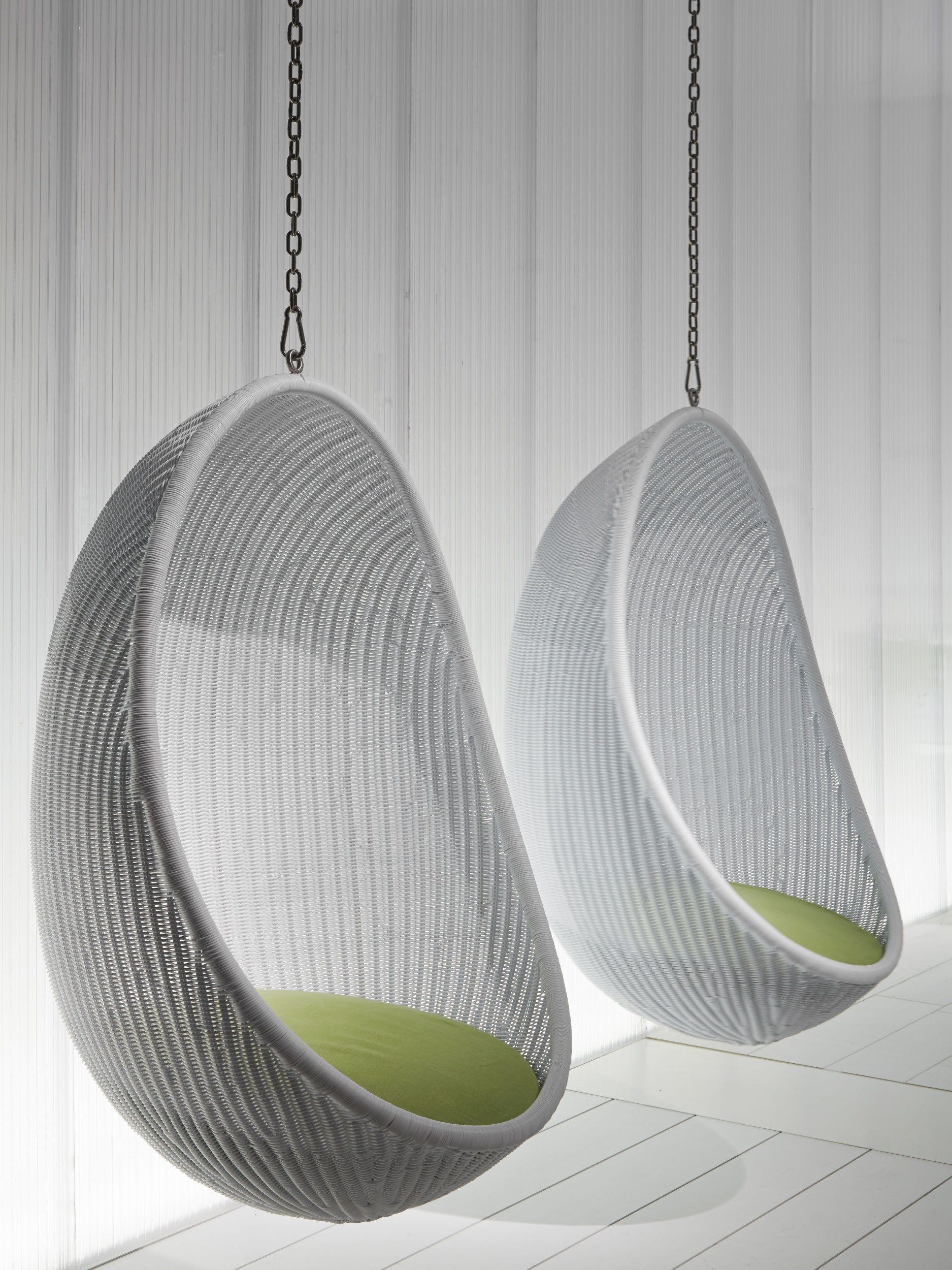 Great Furniture: Nice Looking White Woven Rattan Two Hanging Egg Chair With White  Wooden Wall Panels