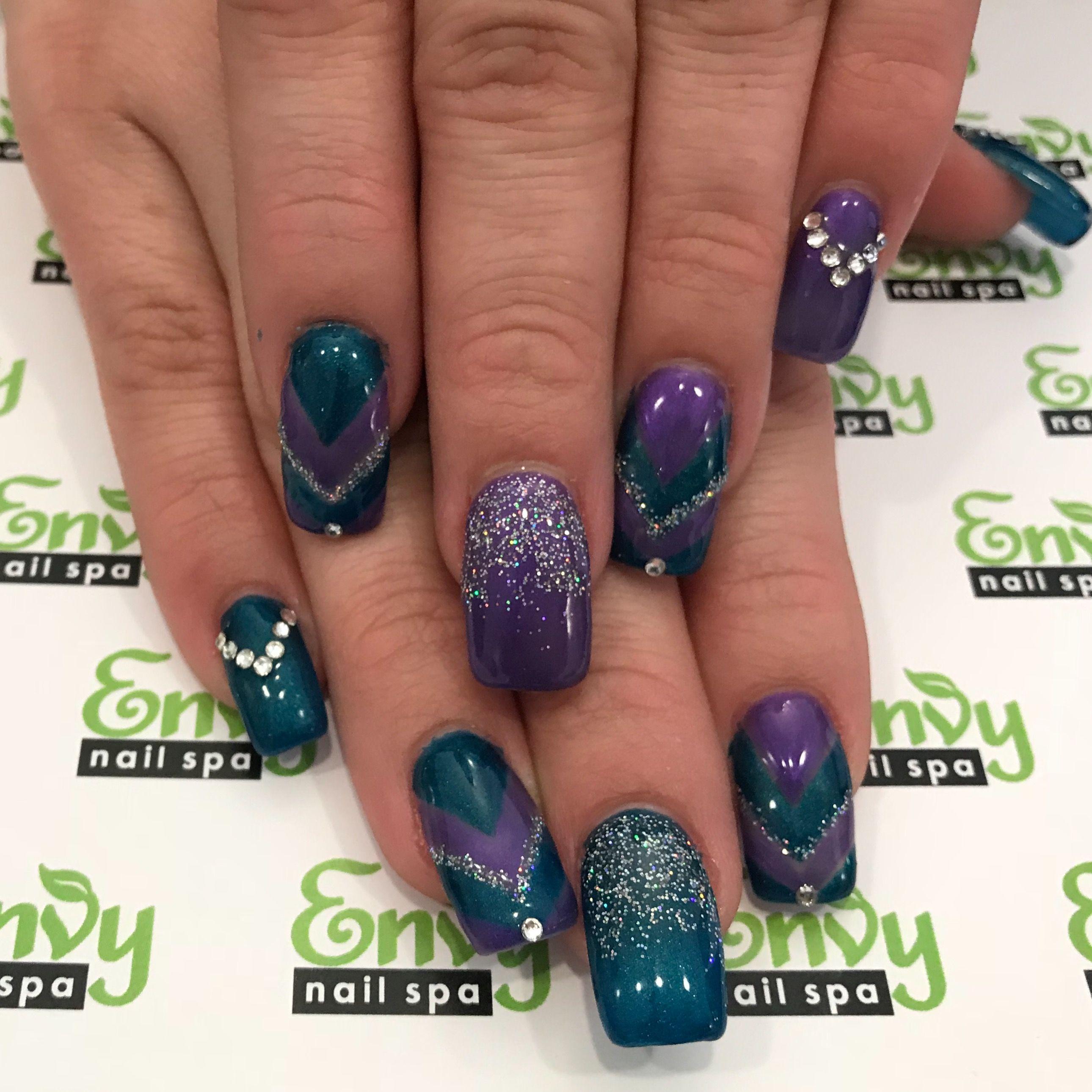 Blue Purple Silver Glitter Rhinestones V Design Nails Envy