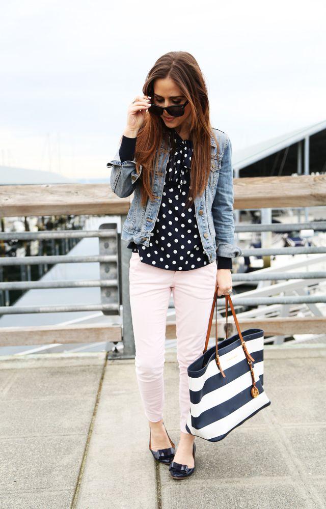 Navy and white polka dot top 6239fab1e