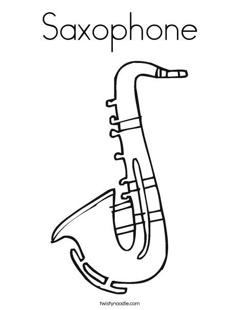 Saxophone Coloring Page Twisty Noodle Music Coloring Coloring