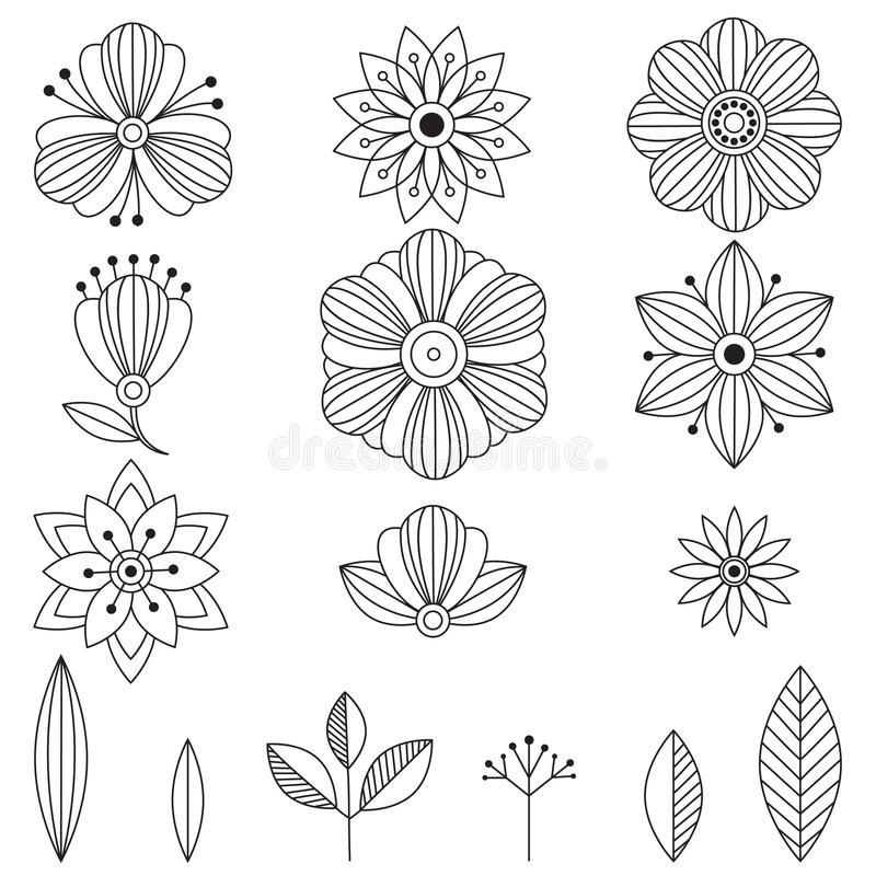 Doodle art flowers hand drawn herbal design elements vector doodle art flowers hand drawn herbal design elements pronofoot35fo Choice Image