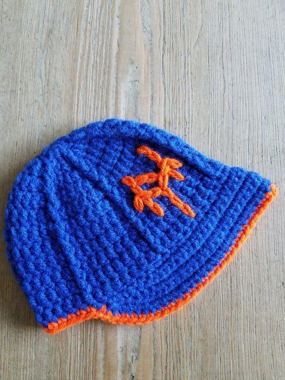 a0d6a648655 NY METS Baseball Hat w Brim   Diaper Cover Set Photo Prop Hand-Crochet  Spring Blue Orange Newborn B