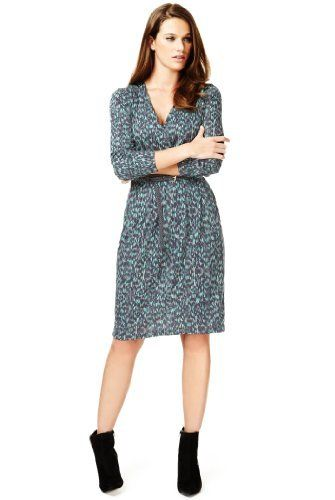 Autograph Crossover V-Neck Abstract Print Wrap Dress  Product Code: T502491