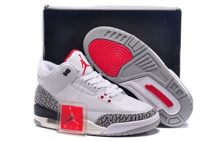 quality design 9aaf6 30cf3 Air Jordan 3 Retro White Black Grey Red