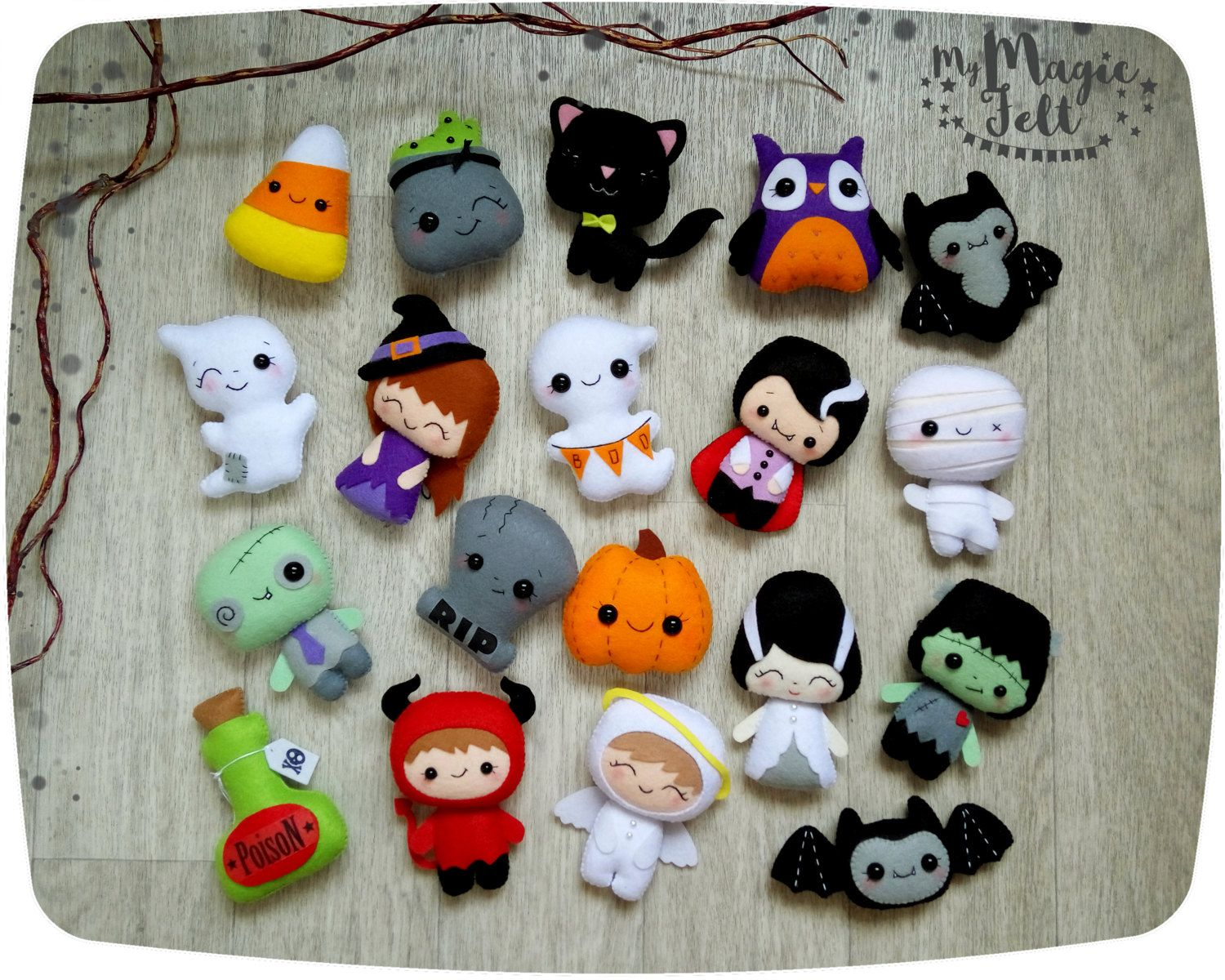 halloween ornaments set of 15 cute halloween ornament felt halloween decor felt toys halloween decorations party - Etsy Halloween Decorations