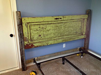 vintage door headboard, doors, repurposing upcycling, Getting it all set into place with the bed frame
