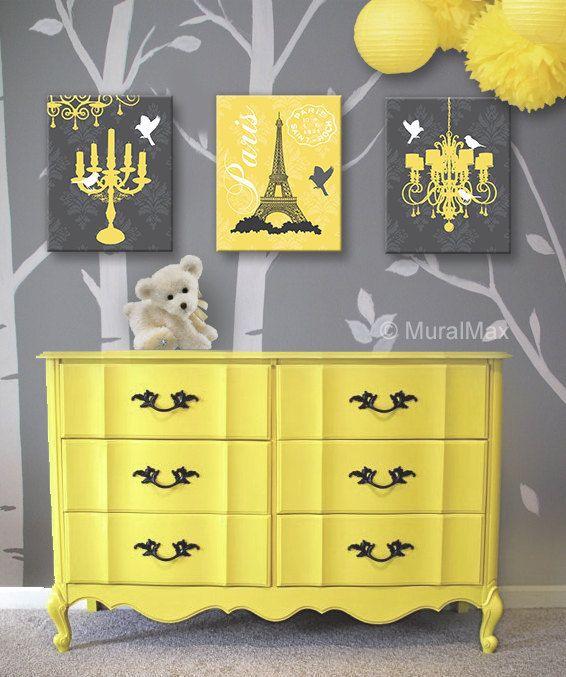very Parisian..love the yellow Paris Chandelier Canvas Art, Baby ...