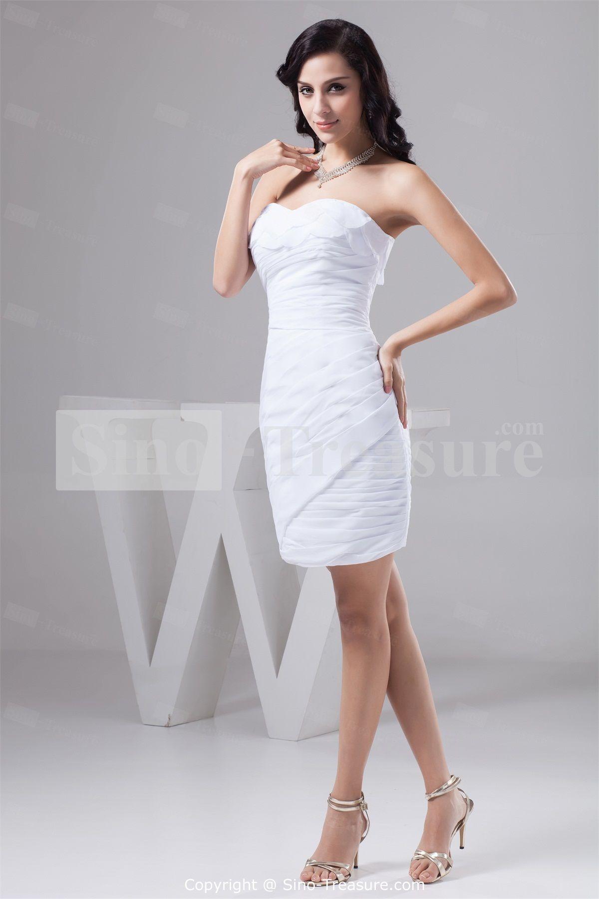 White short wedding dresses  White Short Mini Chiffon Strapless Summer Bridesmaid Dresses