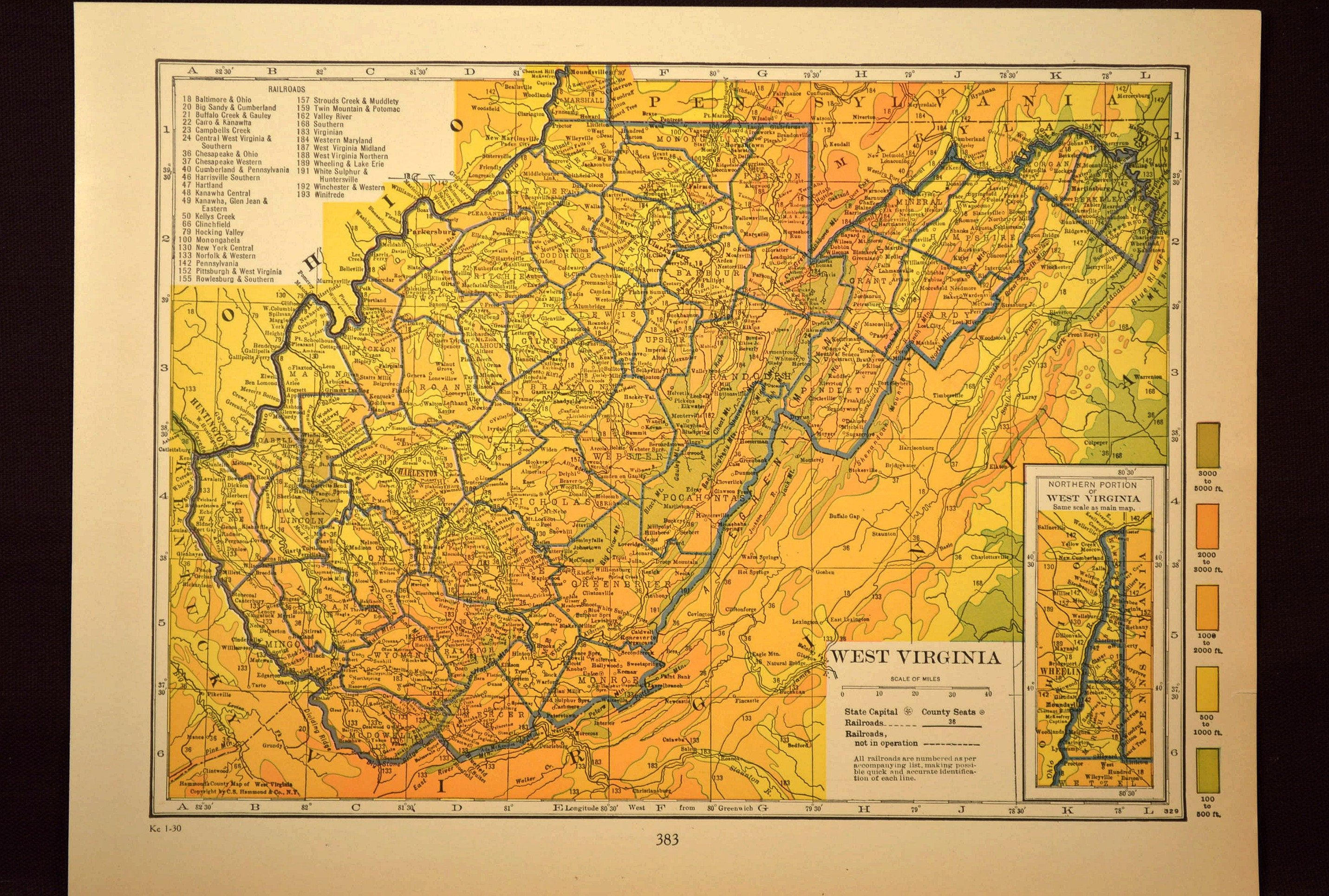 West Virginia Map of West Virginia Wall Decor Art ...