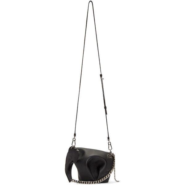 Loewe Black Mini Punk Elephant Bag (4.835 BRL) ❤ liked on Polyvore featuring bags, handbags, shoulder bags, mini leather handbags, leather purses, leather shoulder handbags, studded leather handbag and genuine leather handbags