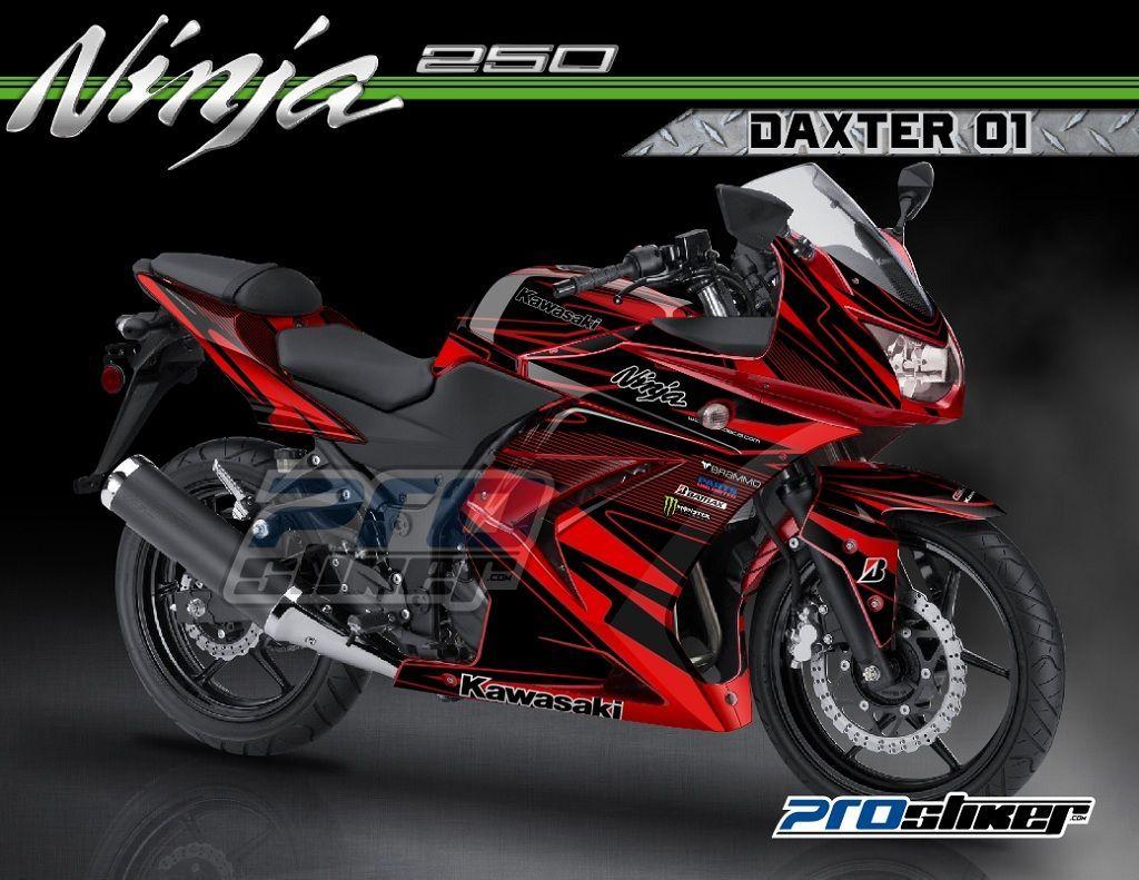 Striping Modifikasi Ninja 250 R Karbu Warna Merah Motif Daxter 01