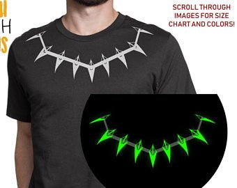 a3ff5519bfbe Glow in the dark Black Panther Necklace T shirt