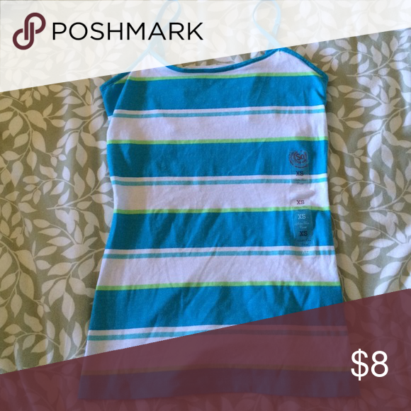 Stripped tank top *CLOSET CLOSING BY THE END OF THE WEEK*Blue/green/white stripped tank top SO Tops Tank Tops