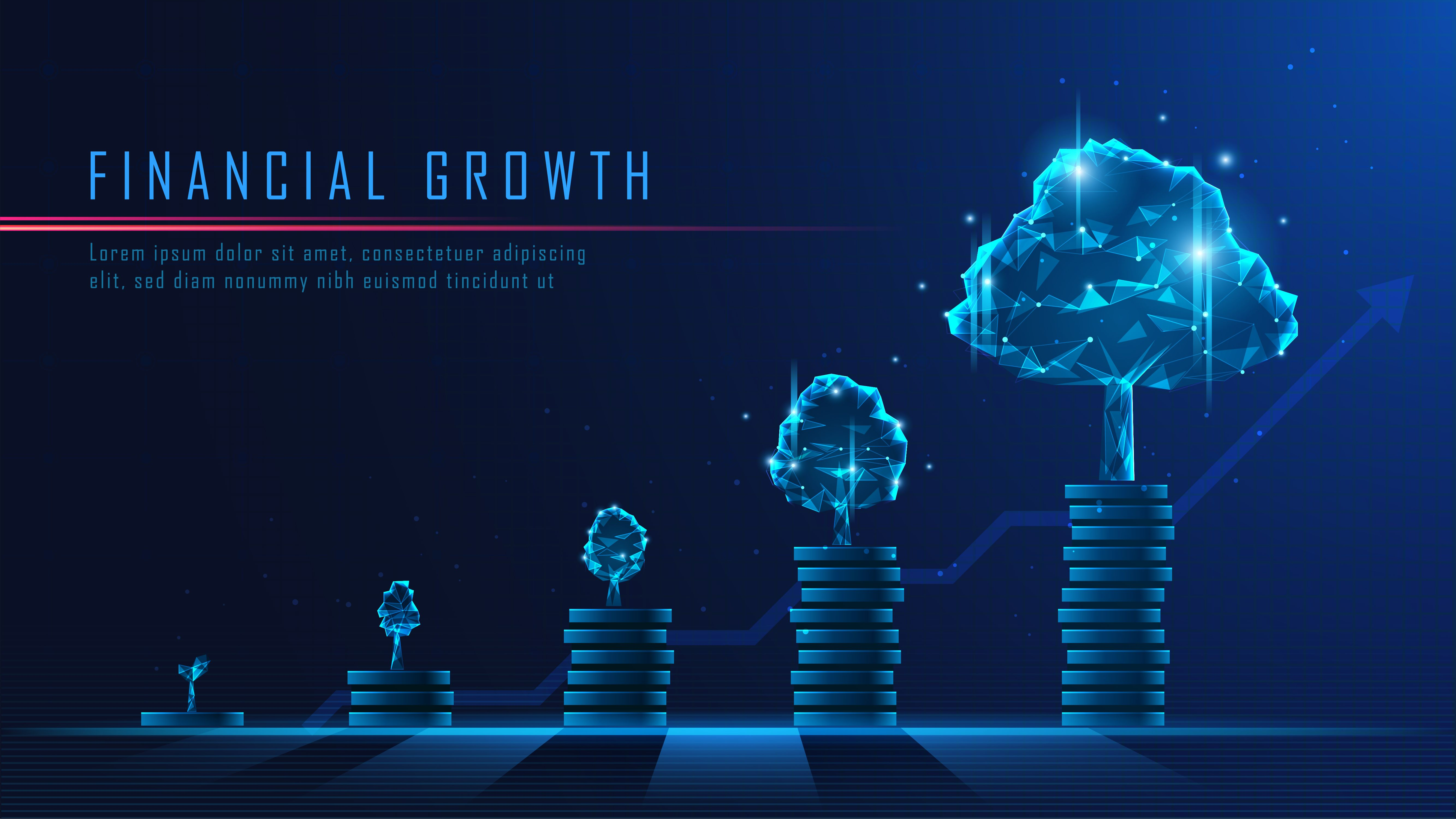Financial investment growth in futuristic concept suitable