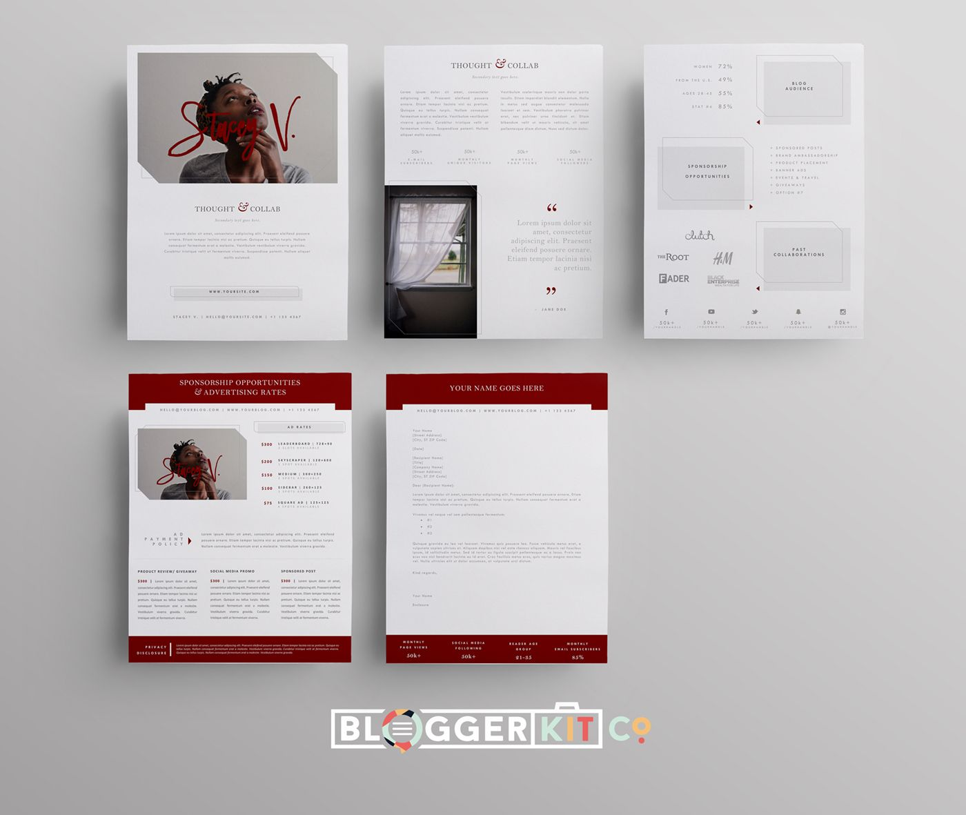 Page Media Kit Template  Blog Sponsorship Set Proposal Letter