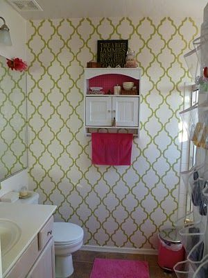Cute Pink And Green Bathroom With Hand Painted Wallpaper Preppy