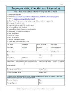 New Cumberland Pennsylvania Front Of The House Restaurant Forms Restaurant Consultants Restaura Employee Handbook Restaurant Management Checklist Template