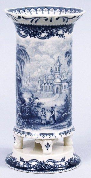 blue castle toile porcelain vase 8 inches high cyress home decor - Blue Castle Decor