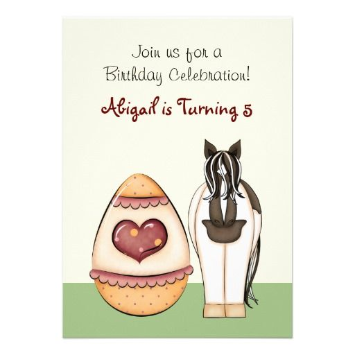 Horse and Easter Eggs Birthday Invitation ~ Girls