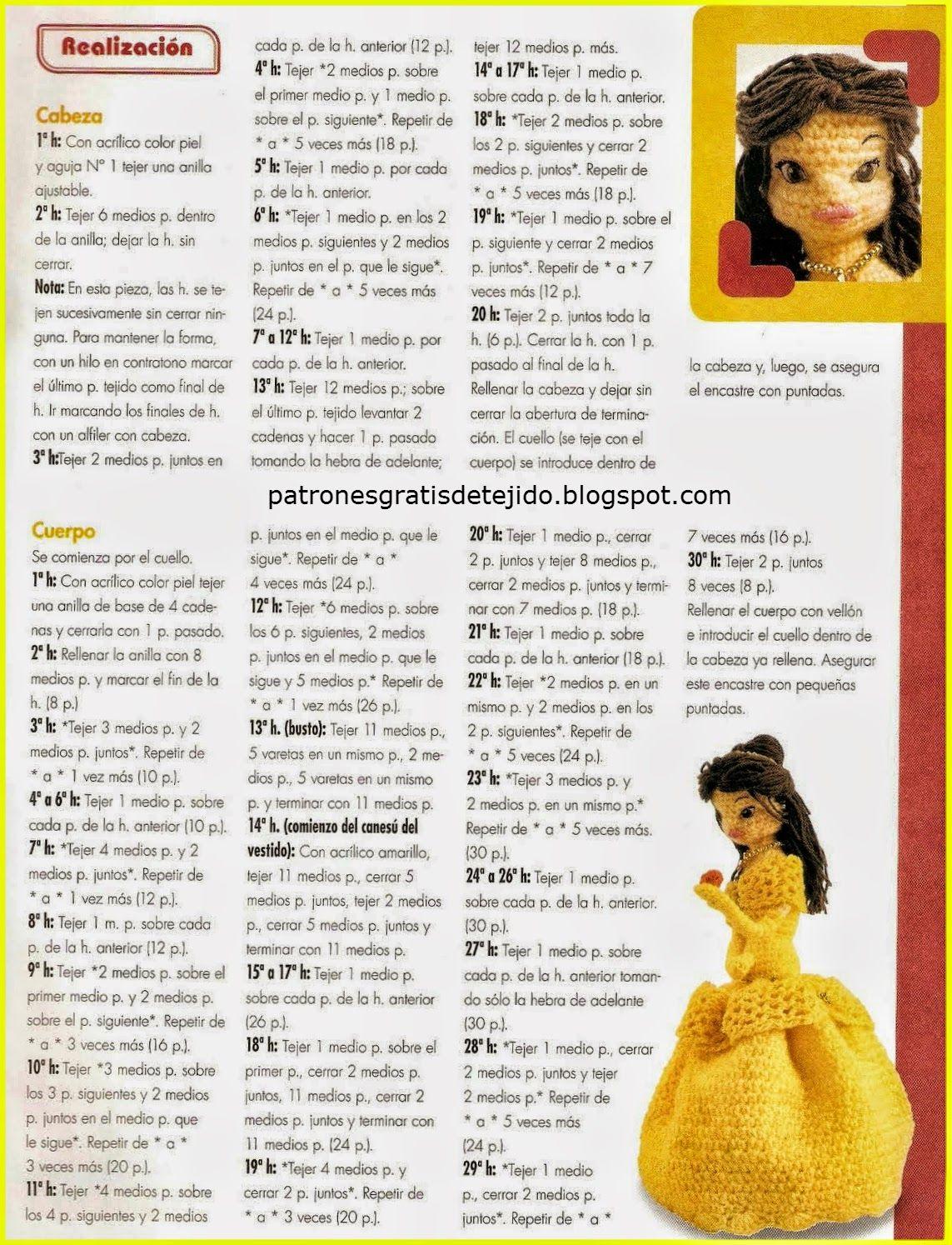 Amigurumi: La Princesa Bella de Disney al crochet | Crochet y Dos ...