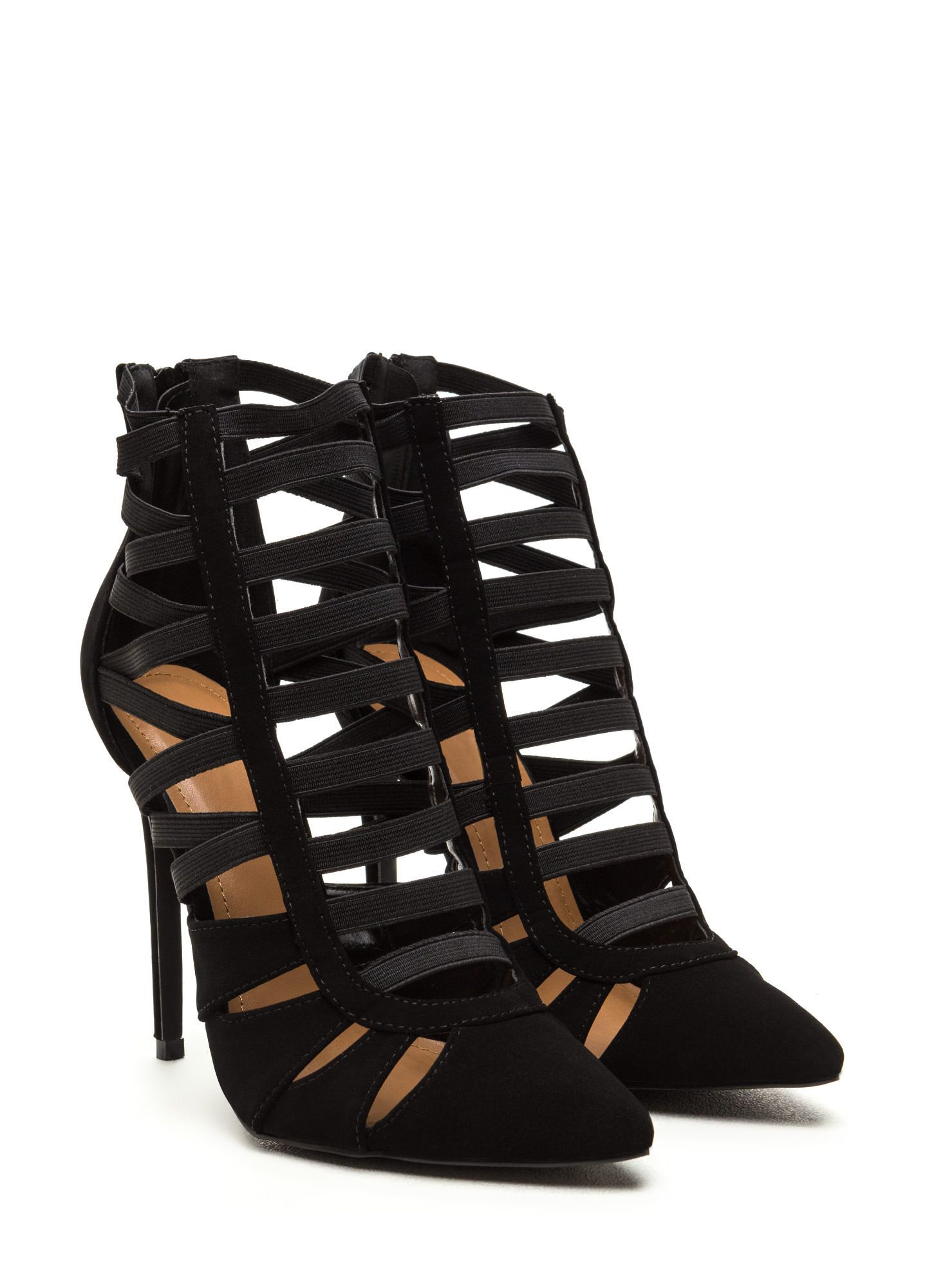 Let's Vent Pointy Caged Cut-Out Heels BLACK