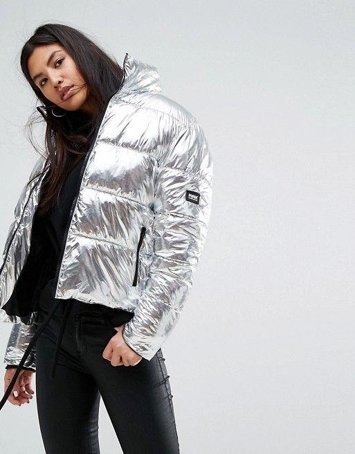 5fcaaffc517f Puffa Original Oversized Jacket In Metallic Silver   Metallic jacket ...