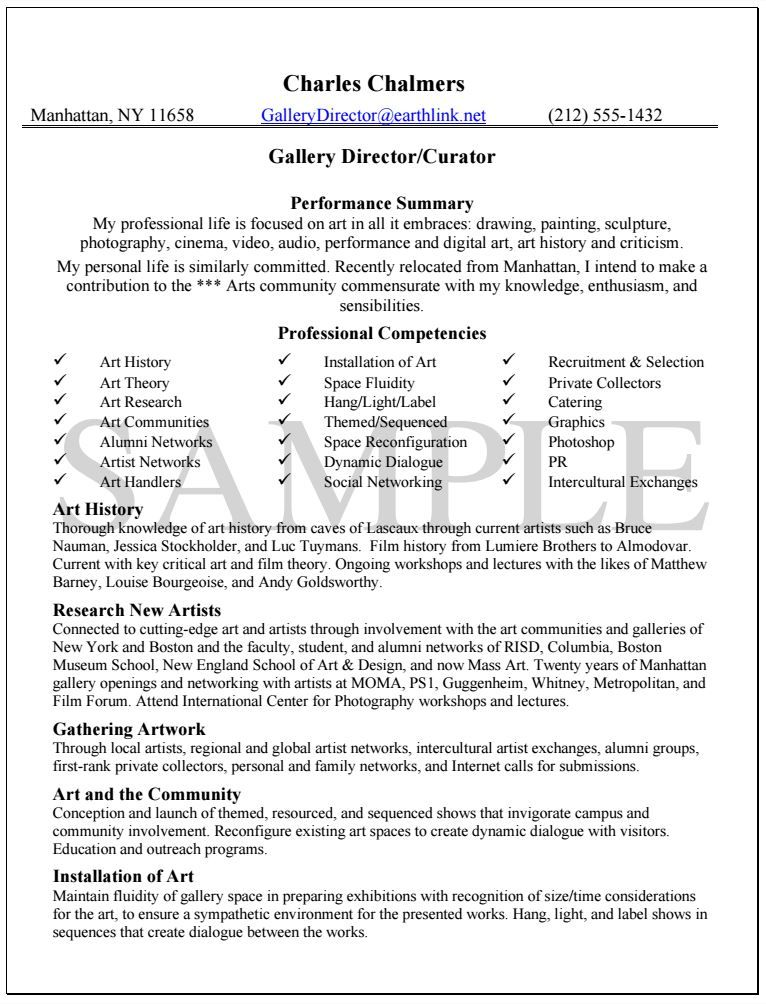 Gallery Director Resume Sample resume examples Pinterest - professional resume writing service