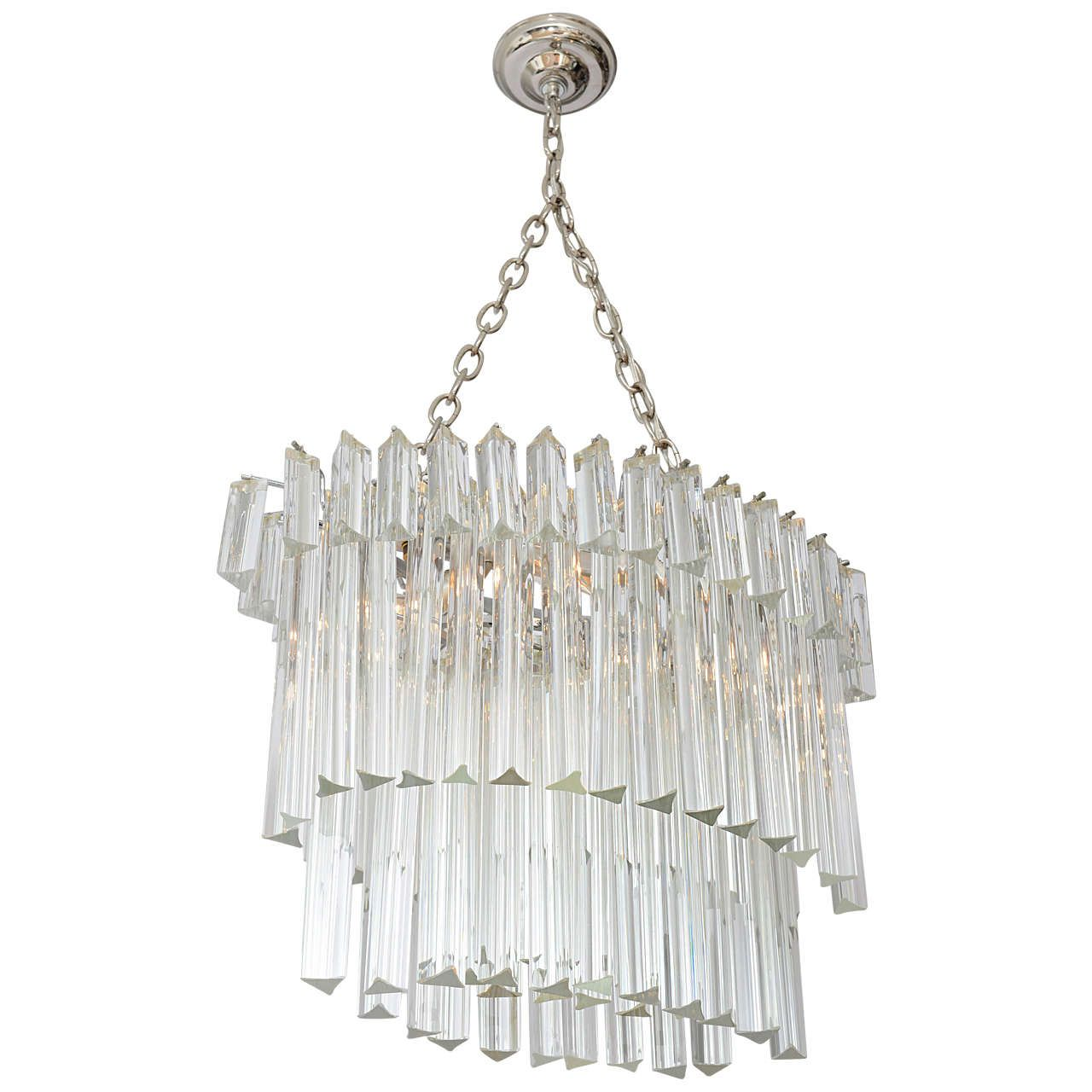 Venini ThreeTier Oval Glass Prism Chandelier – Glass Prisms for Chandeliers
