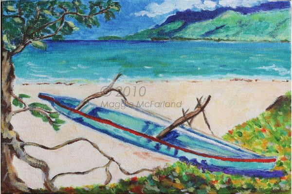 12 Art Note Cards-Tahiti Outrigger