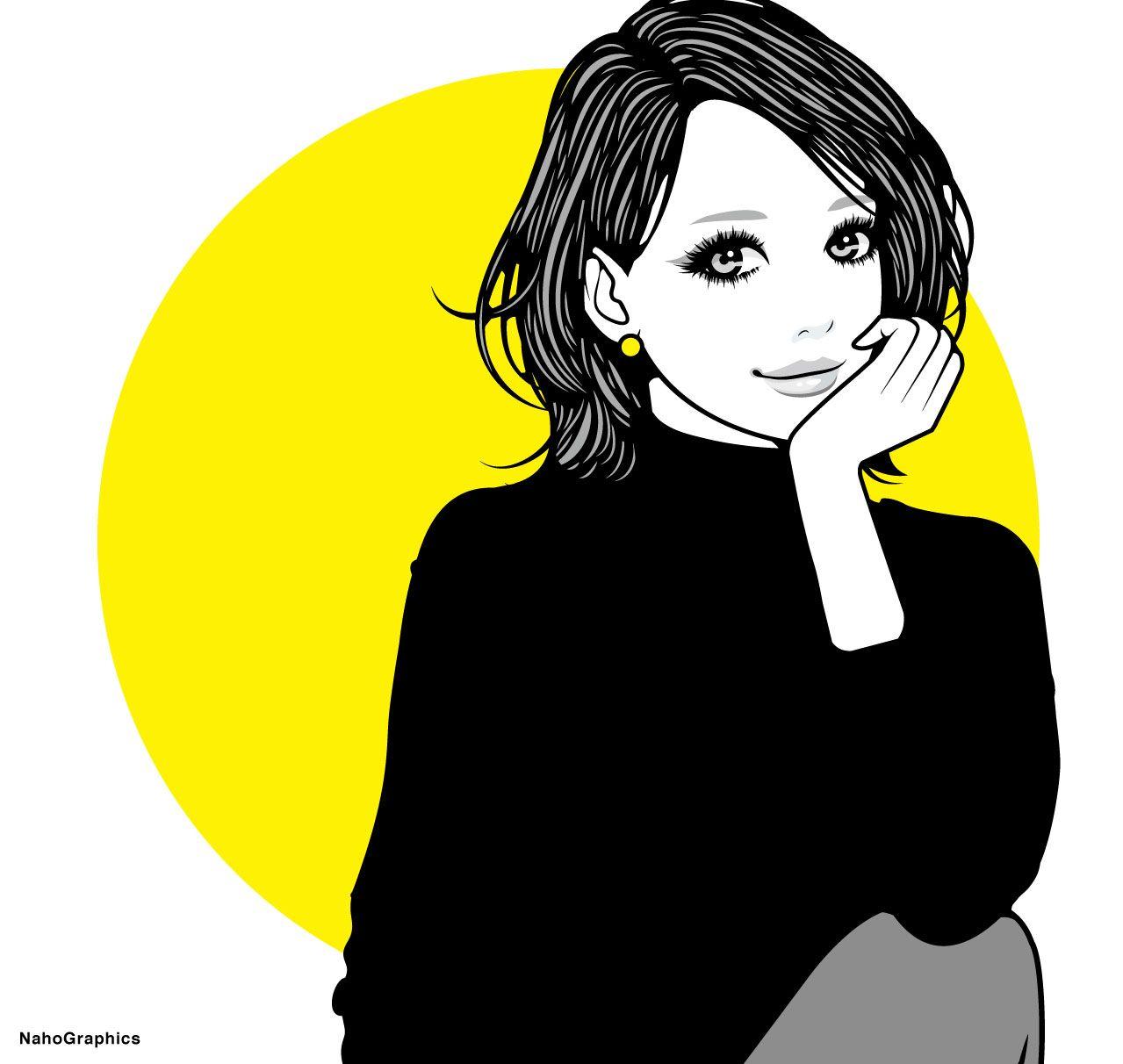#illustration #drawing #art #simple #design #fashion #hair #hairstyle #face #design #イラスト #イラストレーション #アート #女性イラスト #ドローイング #絵 #make #メイク #女の子 #girl #woman #女性 #ファッション #ボブ #ガーリー #ネイル #切り絵風 #黄色 #タートルネック #モノクロ