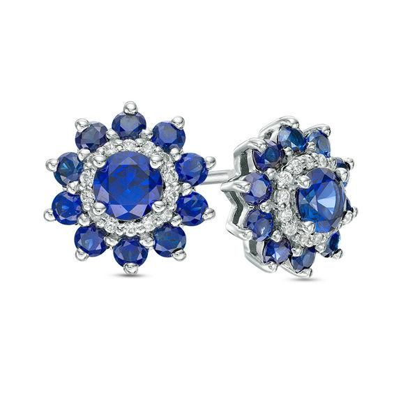 Zales Lab-Created Opal Flower Stud Earrings in Sterling Silver XMBy0Cml