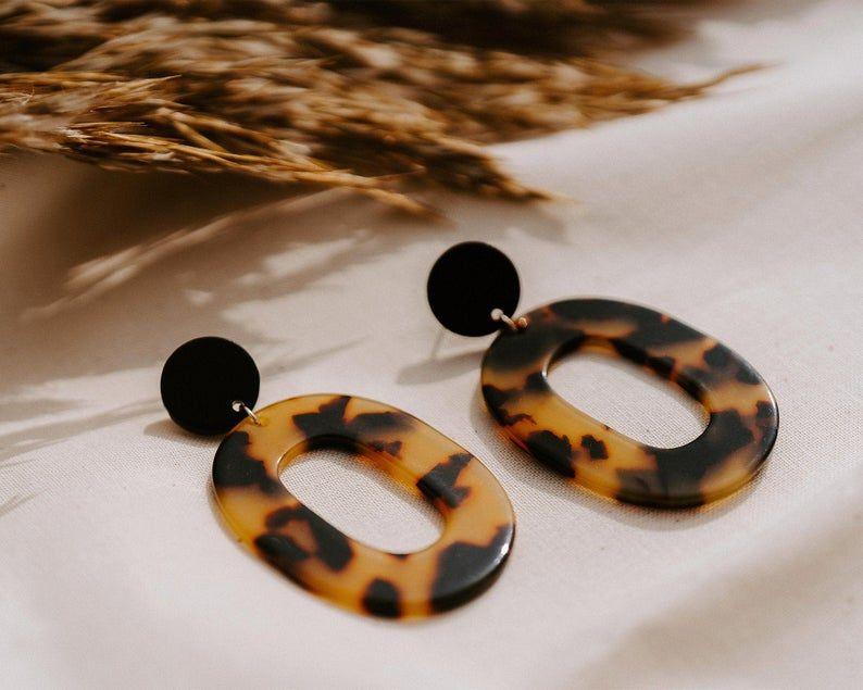 TORTOISE SHELL | Acetate Earrings – Handmade Earrings – Black Earrings – Drop Earrings – Oval Earrings – Animal Print – Tortoise Shell