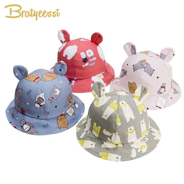 82506892d Cute Baby Hat for Girls Cartoon Baby Boy Hat with Ears Spring Autumn  Children Cap Cotton
