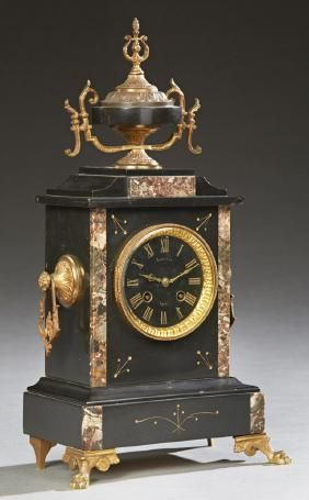 French Gilt Spelter Mounted Inlaid Black Marble Mantle