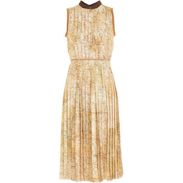 Carven Map Dress - Beige size 40 ($1,365) ❤ liked on Polyvore