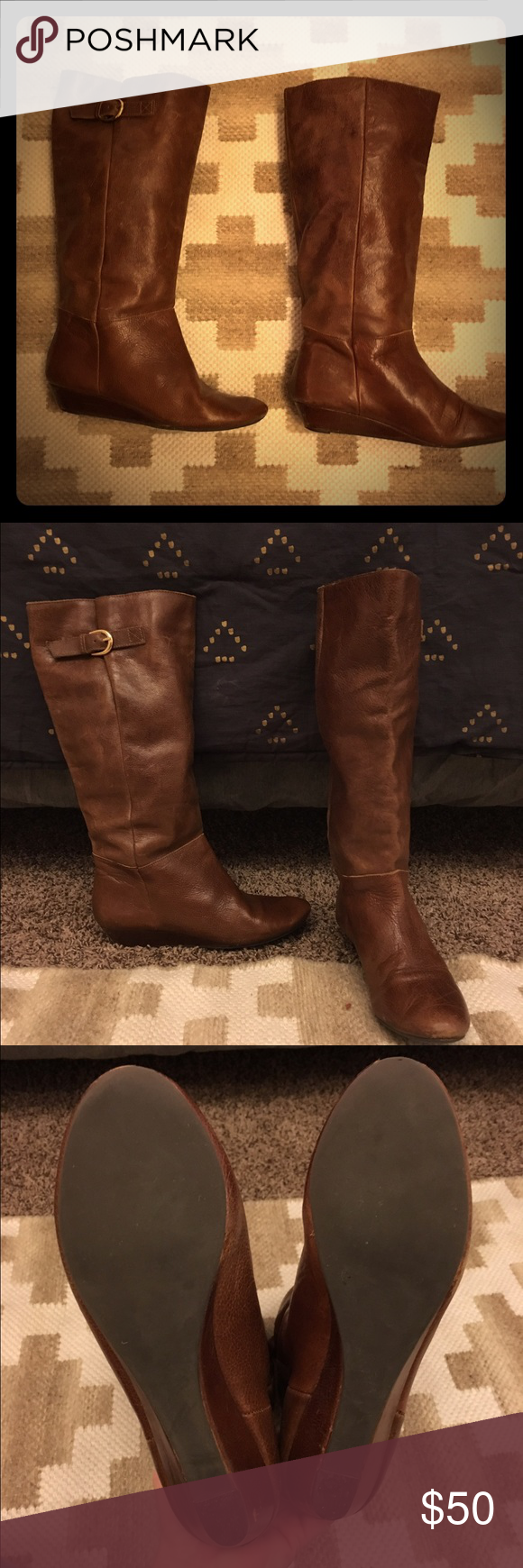 Steve Madden Intyce boots Steve Madden calf boots. Aged brown in color, gold buckle on the outside of both boots. Lightly worn. DOES SHOW SIGNS OF WEAR ON THE HEELS. Please make sure and review ALL of the pictures. Small wedge heel. I'm honestly not sure if these are real leather or not. Steve Madden Shoes Heeled Boots