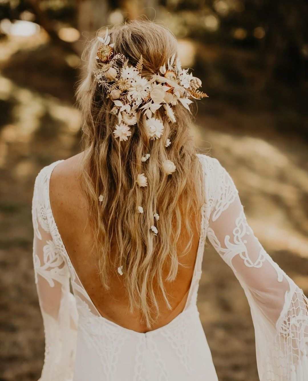 Photo of Blush Flowers Hair Comb / Natural Bridal Hair Accessory / Dry Flowers Silver comb / Bridal Hair comb / White Ivory orange tones