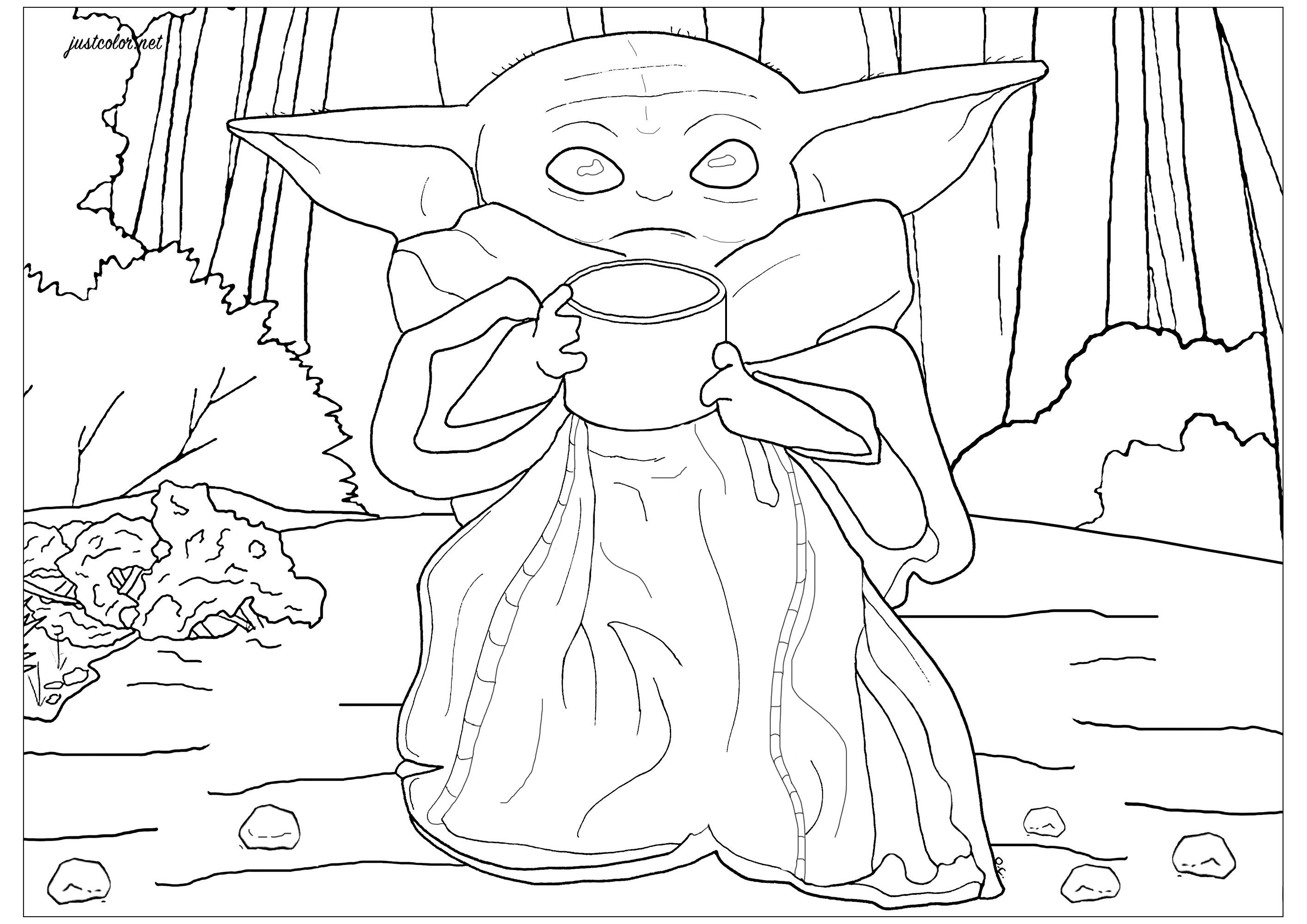 Baby Yoda The Child Movies Coloring Pages For Adults Just