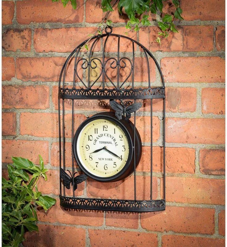 Outdoor Garden Clock Wall Metal Clocks Retro Patio Decor Balcony Vintage  Yard