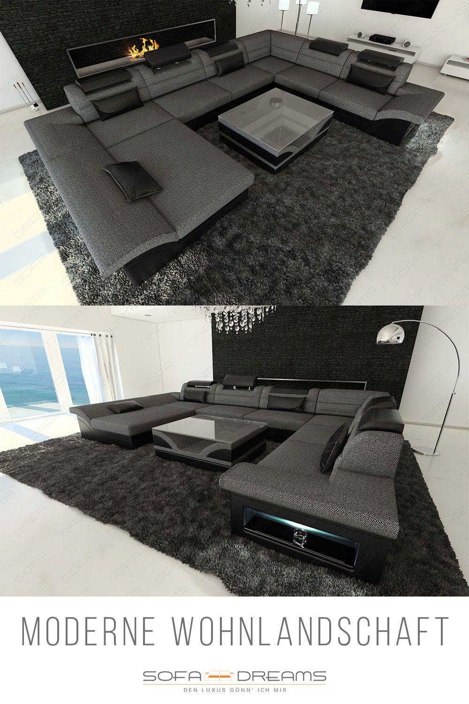 Stoff Wohnlandschaft Enzo Xxl Sofa Design Sofa Gunstig Kaufen