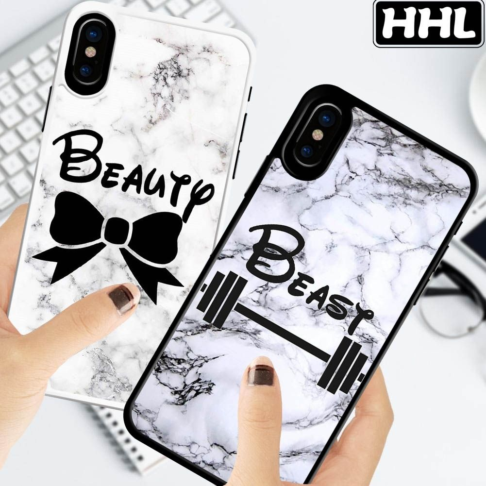Beauty And Beast Couple Marble Hard Phone Case For Samsung
