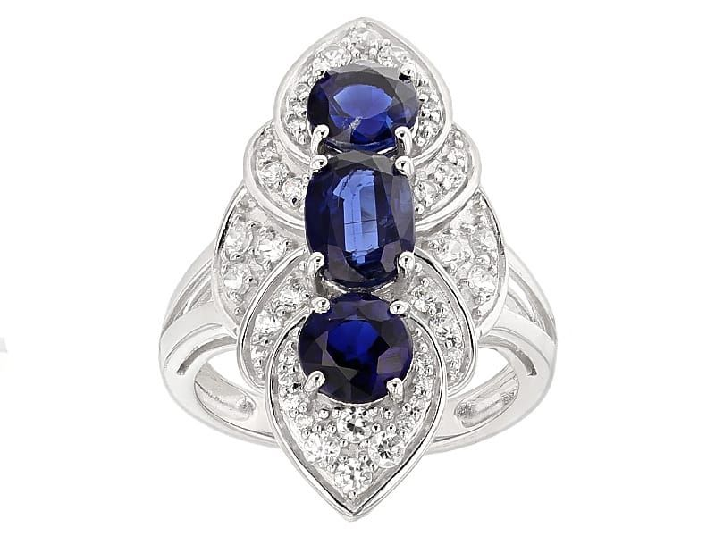 3.17ctw Oval And Round Kyanite With .89ctw Round White Zircon 10k White Gold Ring