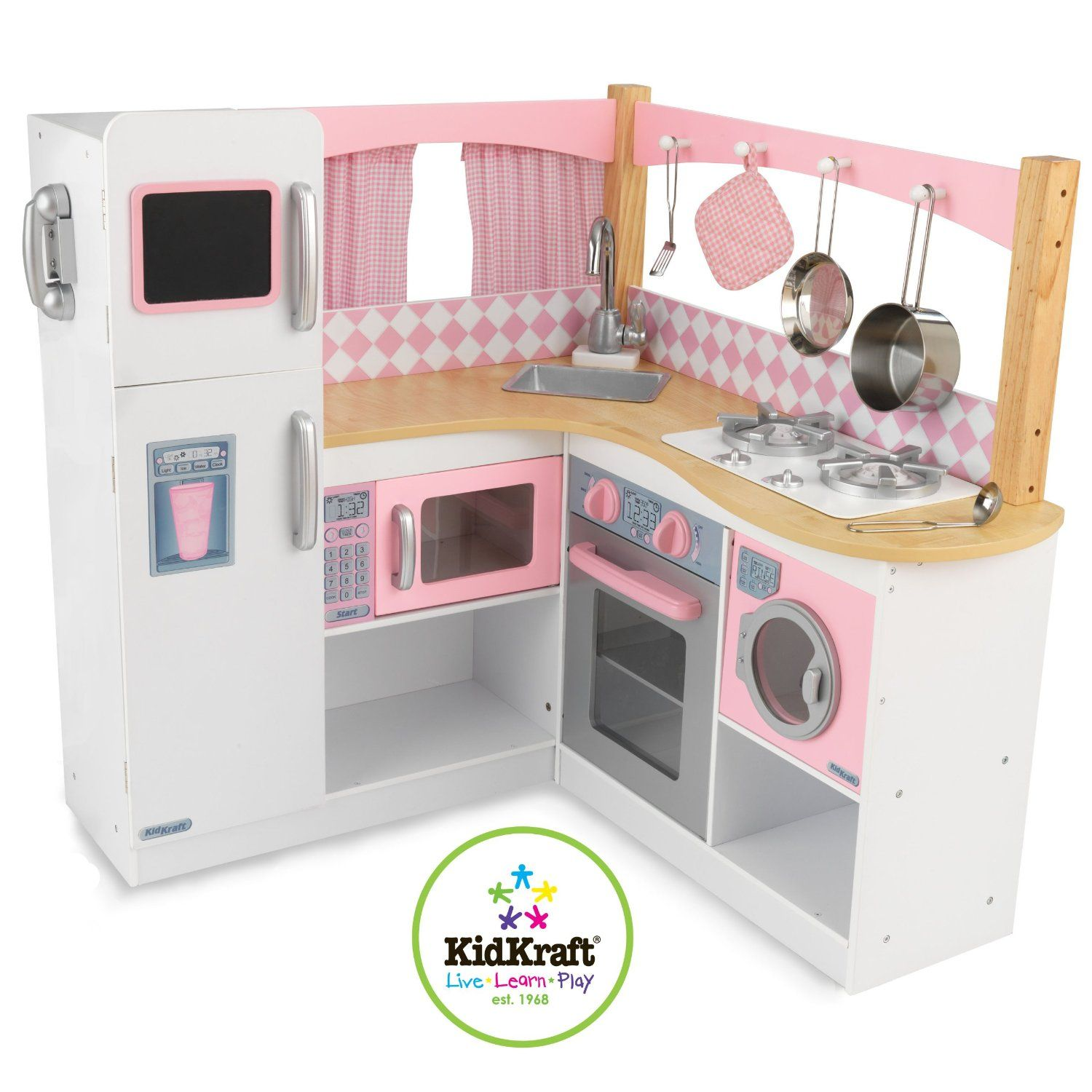 what a cute play kitchen set for your child. accented with pink