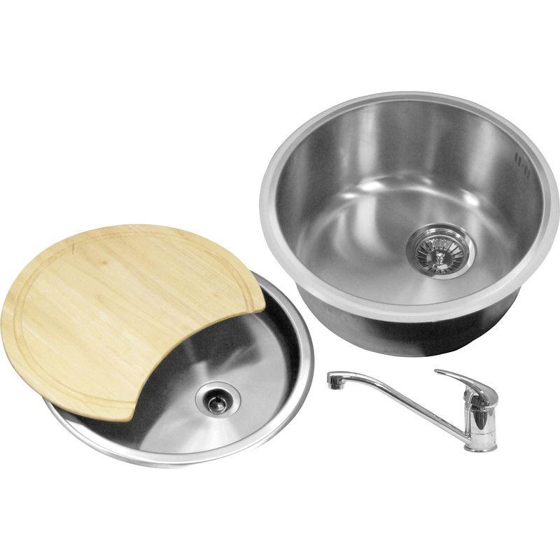 Round Bowl Kitchen Sink Amp Drainer Kit 440 X 185mm Deep