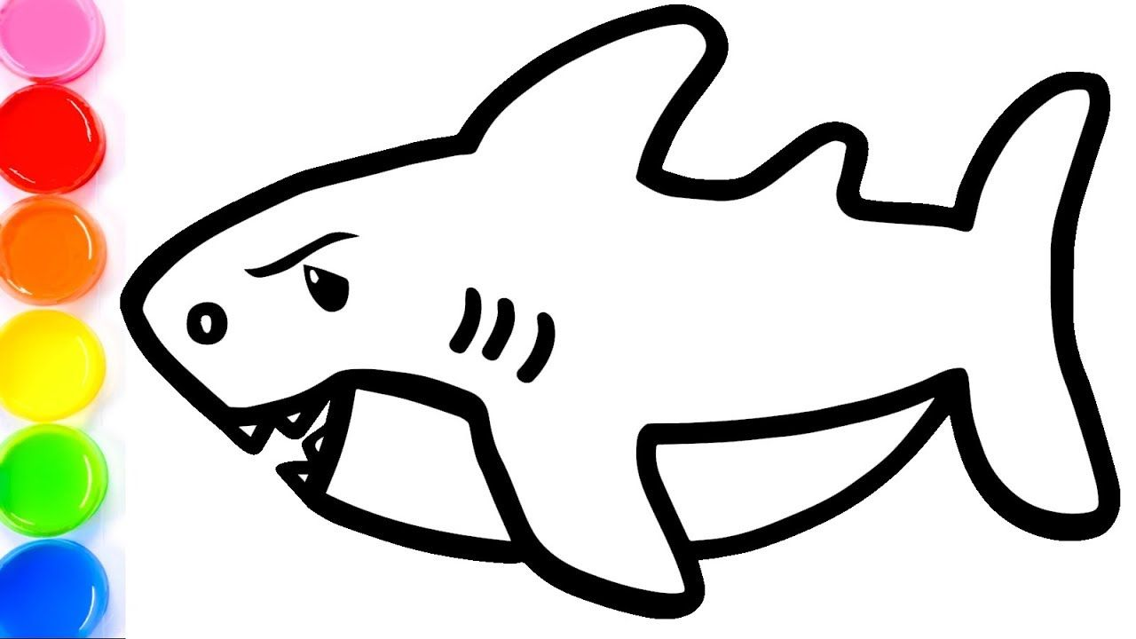 How To Draw A Baby Shark For Kids Baby Shark Coloring Book For Kids Learn Colors Sharks For Kids Baby Shark Learning Colors