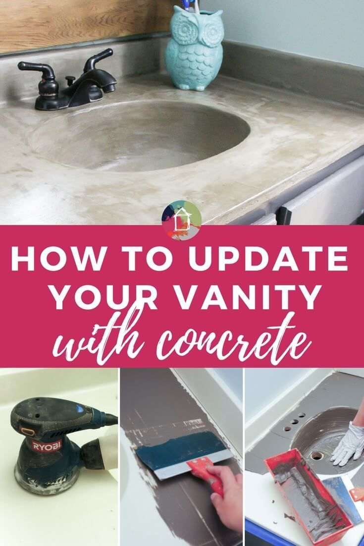 DIY Vanity Makeover using Concrete Overlay! | Pinterest | Budget ...